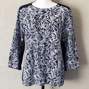 J Crew embroidered white floral navy tunic EUC